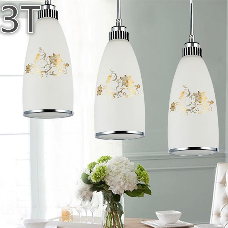 3pcs/set glass pendant lights Modern Art Painted Lamps  Classic Bar Beat kitchen dining room light Modern  suspension luminaire <br><br>Aliexpress