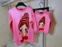 family clothing matching mother daughter son clothes girl women print cartoon hoodies winter thick sweatshirts family clothing