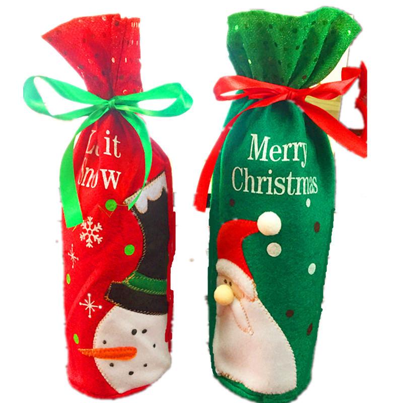 Christmas Dress High Quality Santa Claus Snowman Red Wine Bag Restaurant Bottles Champagne Bottle Christmas 5ZHH114(China (Mainland))