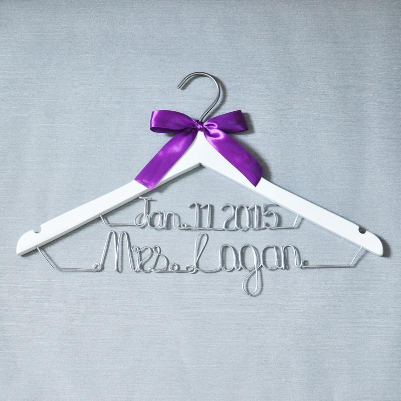 Wedding Hanger   Personalized Brides Hanger  Name Hanger  custom Bridal Gift   white hanger  with bowknot(China (Mainland))