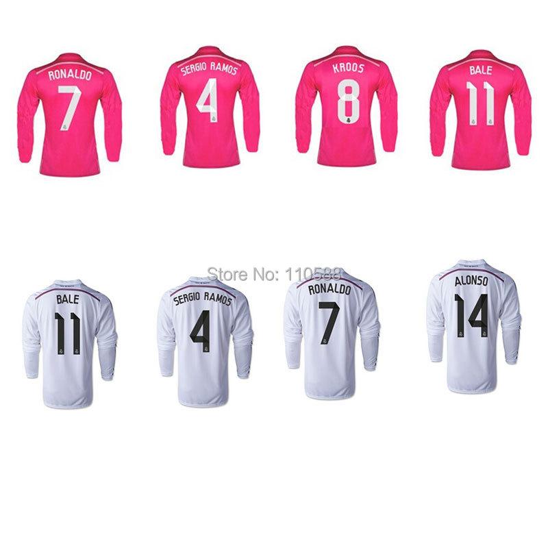 2015 Real Madrid Long sleeve  CHACHIRITO JAMES football jerseys 14 15 camisetas  Real Madrid RONALDO BALE RAMOS soccer shirts(China (Mainland))