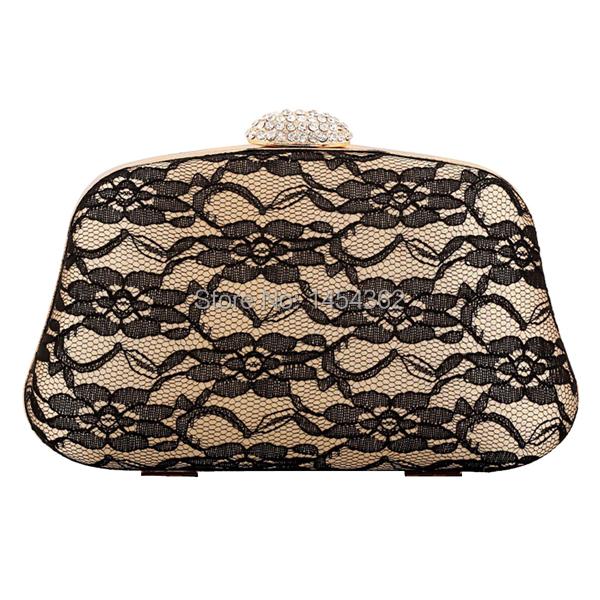 Sweet pastoral style wedding bridal handbag lace flower vine handbag hard shell box clutch bag(China (Mainland))