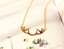 Europe Vintage Style Gold Deer Horn Antlers Necklaces Pendants Choker Chain Necklace For Women Jewelry X