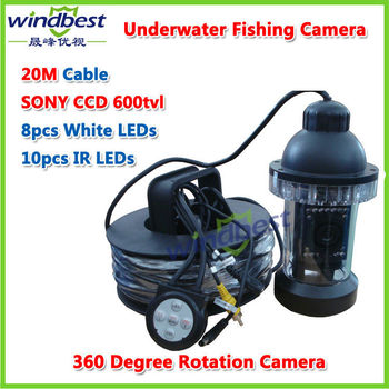 DHL Freeshipping CCTV PTZ Underwater Fishing Camera Fish Finder 1/3 SONY CCD 18pcs White/IR LEDs 20M Cable Rotate 360 Degree