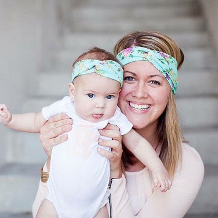 2Pcs/Set Mom and Me Boho Turban Headband Top Knotted Rabbit Ears Elastic Bowknot Matching Headband Baby and Mommy Headwrap Gifts
