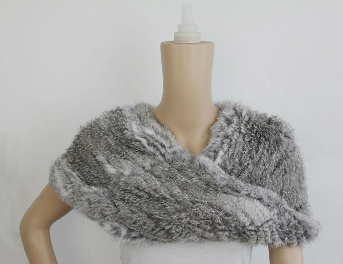 Real fur knit Knitted fabric rabbit fur scarf wrap shawl stole poncho(China (Mainland))