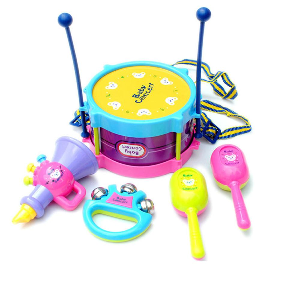 Hot Sale one set 5pcs Kids Roll Drum Musical Instruments Band Kit Children Toy Gift Set New Free Shipping(China (Mainland))