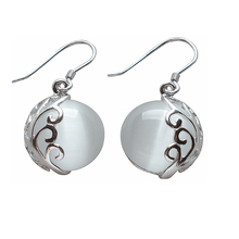 Silver Earrings 100% Real 925 Sterling Silver Jewelry Drop Earrings With White Opal Stones YH1008(China (Mainland))