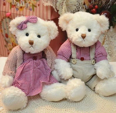 Couple Teddy doll 2pcs / lot 29cm(11.42 )sitting head the relevant section of push toy dolls best gift for child birthdayAB103<br><br>Aliexpress