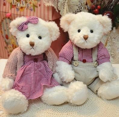 "Couple Teddy bear lover doll 2pcs / lot 29cm(11.42 "")push toy dolls stuffed baby toys dolls AB103(China (Mainland))"