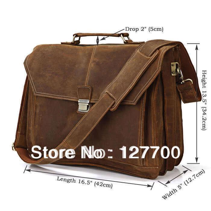 Free Shippig Crazy Horse Leather Men's Briefcase Laptop Handbag Messenger Bag For Men # 7083B(China (Mainland))