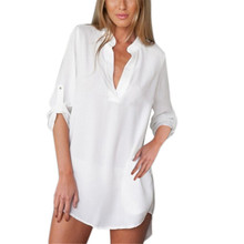 Buy Vestidos Summer Style 2017 Women Lady V neck Long Sleeve Sexy Party Mini Chiffon Shirt Dress Loose Casual Beach Dress Plus Size for $14.40 in AliExpress store