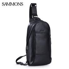 Sammons Men Chest Pack Male Genuine Leather Fashion Leisure Shoulder Small Crossbody Trip Cowhide High Quality Bolsas 0165