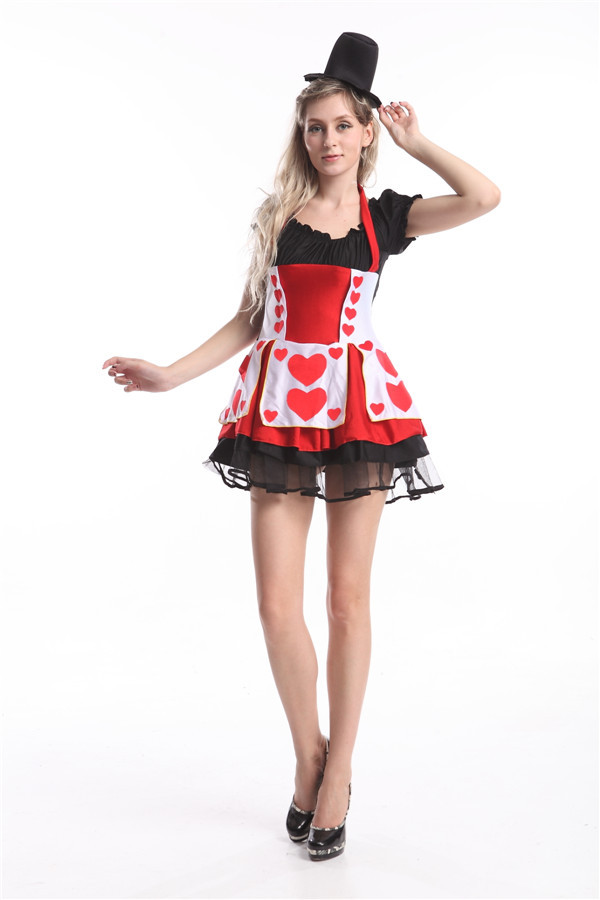 FREE SHIPPING 2014 new arrival Sexy Fairy Tale Costume Most farmers Queen of Hearts costume halloween costume size s-3xl(China (Mainland))