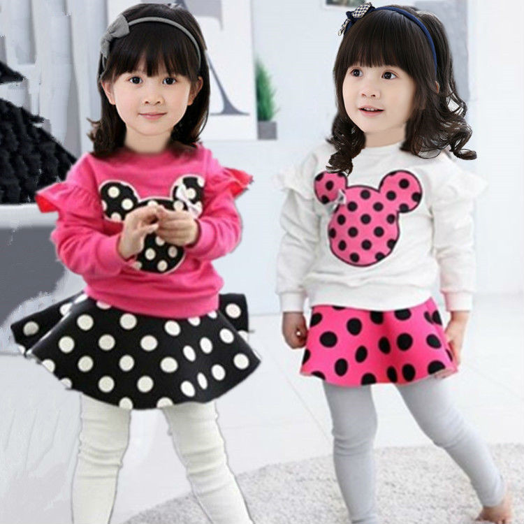 Wholesale 2015 new autumn Korean style children's clothing sets girls cotton cartoon mickey hoodie+Polka Dot Culottes 2pc suit(China (Mainland))