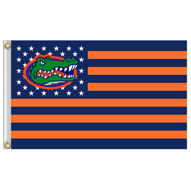 1 Pcs 90*150cm Florida Gators flag with us stripes 3ftx5ft Banner 100D Polyester flag Metal Grommets Home Decor Accessories(China (Mainland))