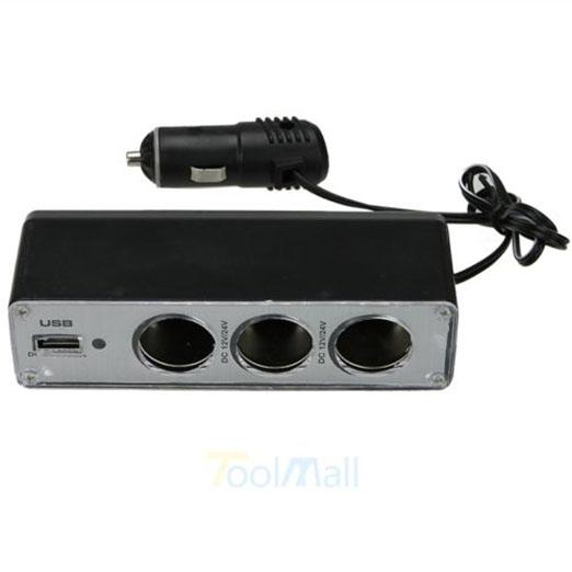 ACCESSORIES CAR CIGARETTE LIGHTER SOCKET SPLITTER USB PORT ADAPTER CHARGER POWER PLUG TRIPLE EXTENSION(China (Mainland))
