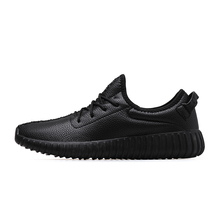 Yeezy Men Shoes Casual Comfortable Soft Leather Men Casual Shoes Lace Up Black White(China (Mainland))