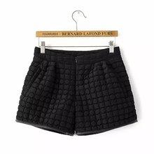 2015 Winter Cotton Short Pants Casual Warm Black Shorts Ladies' PU Package Edge Bootcut Shorts Slim Clip Cotton Shorts GD0103