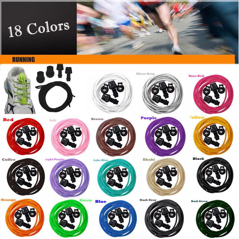 16 Colors Locking Shoe Laces Elastic Shoelaces Running/Jogging/Triathlon/Sports Fitness(China (Mainland))