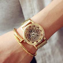 New Famous Brand Luxury Fashion Casual Stainless Steel Men Skeleton Watch Women Dress Wristwatch Steel Quartz Hollow Watches Men