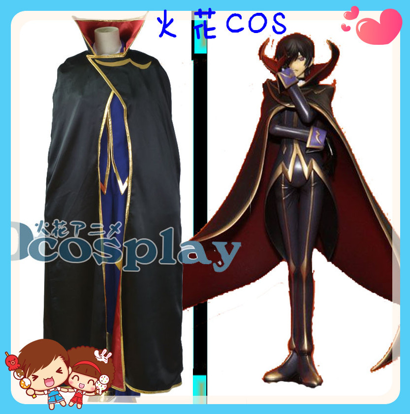 Free UPS Shipping Anime Code Geass Lelouch of the Rebellion Lelouch Lamperouge ZERO Cosplay Costume Anysize(China (Mainland))