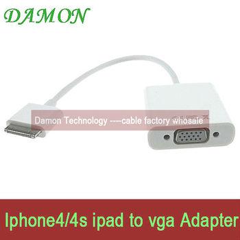 1pcs vga Adapter cable dock 30pin to vga convertor 1080P HD resulation free shipping