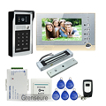FREE SHIPPING Wire 7 LCD Screen Record Video Door Phone Intercom System Outdoor RFID Code Keypad