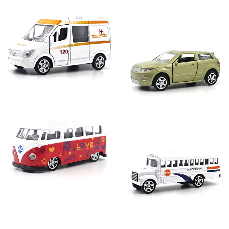 1:64 Alloy car model School police car Bus SUV ambulance Can open the door Back to power Children's toys ornaments(China (Mainland))