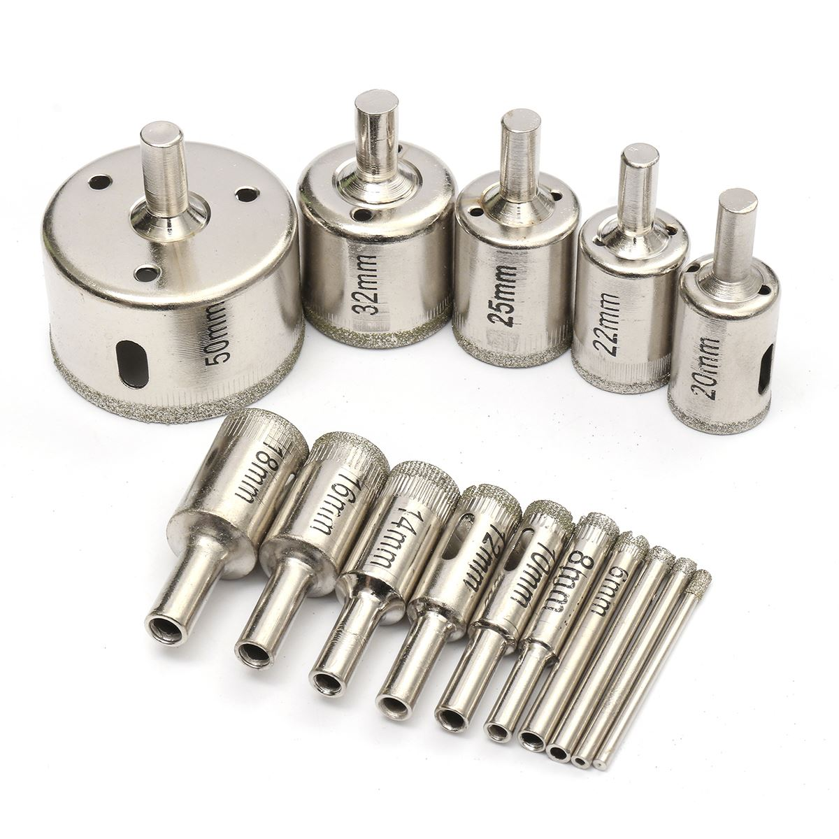 15pcs/set 3mm-50mm Diamond Drill Bit Holes Saw Alloy Silver Cutter Tool For Glass Marble Durable Quality(China (Mainland))