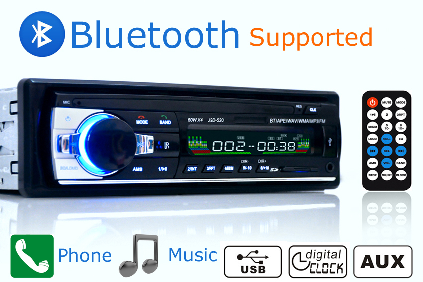 Car Radio Stereo Player Bluetooth Phone AUX-IN MP3 FM/USB/1 Din/remote control For Iphone 12V Car Audio Auto 2015 Sale New(China (Mainland))