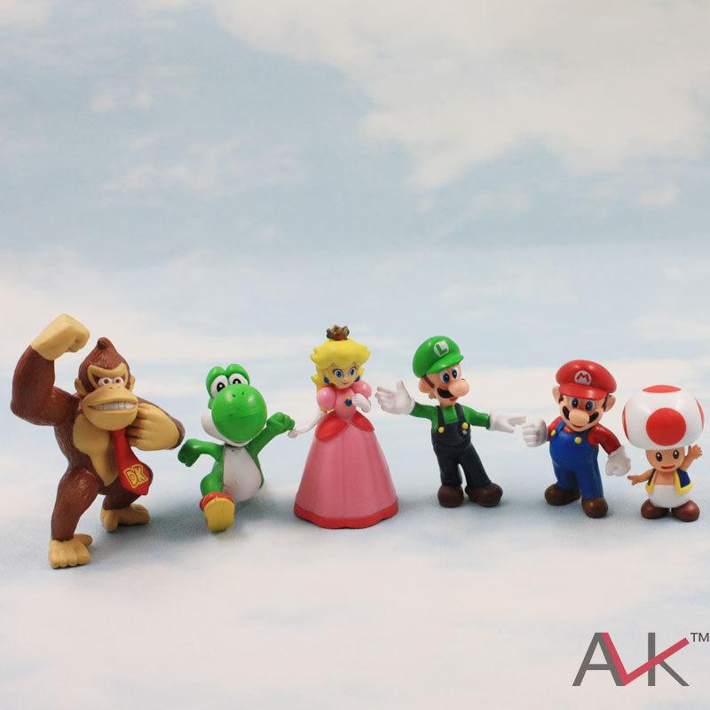 DHL 100set/lot Super Mario Bro Yoshi Peach Toad Luigi PVC Action Figure Toy anime<br><br>Aliexpress