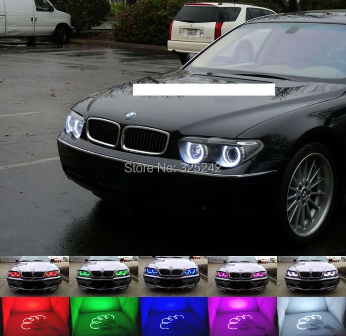 For BMW E65 745i 745Li 2002-2005 non-facelifted Excellent Angel Eyes kit Multi-Color Ultrabright RGB LED Angel Eyes Halo Rings<br><br>Aliexpress