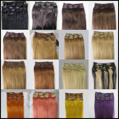 Wholesale 32″ Women's Remy Human Hair Straight Clips In Extensions 10Pcs/set 140g Medium Golden Brown #10