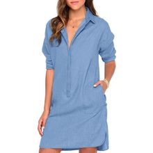 Women's Sexy Casual Blue Denim Shirt Blouse Top Type Party Club Mini Jeans Dress CV3