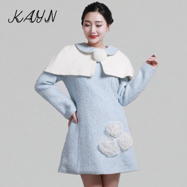 Fashion Women Autumn Winter Wool & Blends Dress Cute Slim Long Sleeve Mini Woolen Poncho - KAYN Boutique Clothing store