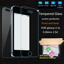 2Pc/Lot 0.26 mm 9H 2.5D Arc Front & Back Tempered Glass for iPhone 5 5s Anti-ExplosionToughened protective Film screen protector