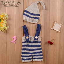 Newborn baby photography props infant knit crochet costume blue striped soft outfits elf button beanie pants