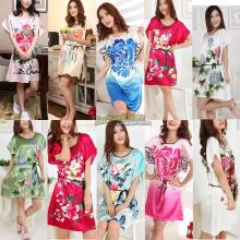 Short Sleeve Floral Sexy Plus Size Women Silk Robe Lady Girl Silk Pajamas Housecoat Nightgowns Loungewear Sleepwear(China (Mainland))