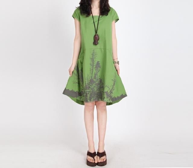 Чернила печать хлопок / лён лето платья для беременных женщины беременность одежда ...