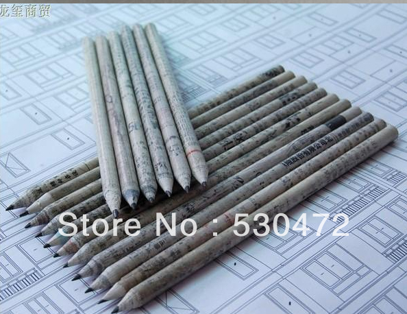 Wholesale , free shipping,100pcs/lot Eco friendly Products/Recycled Newspaper Pencils stationery(China (Mainland))