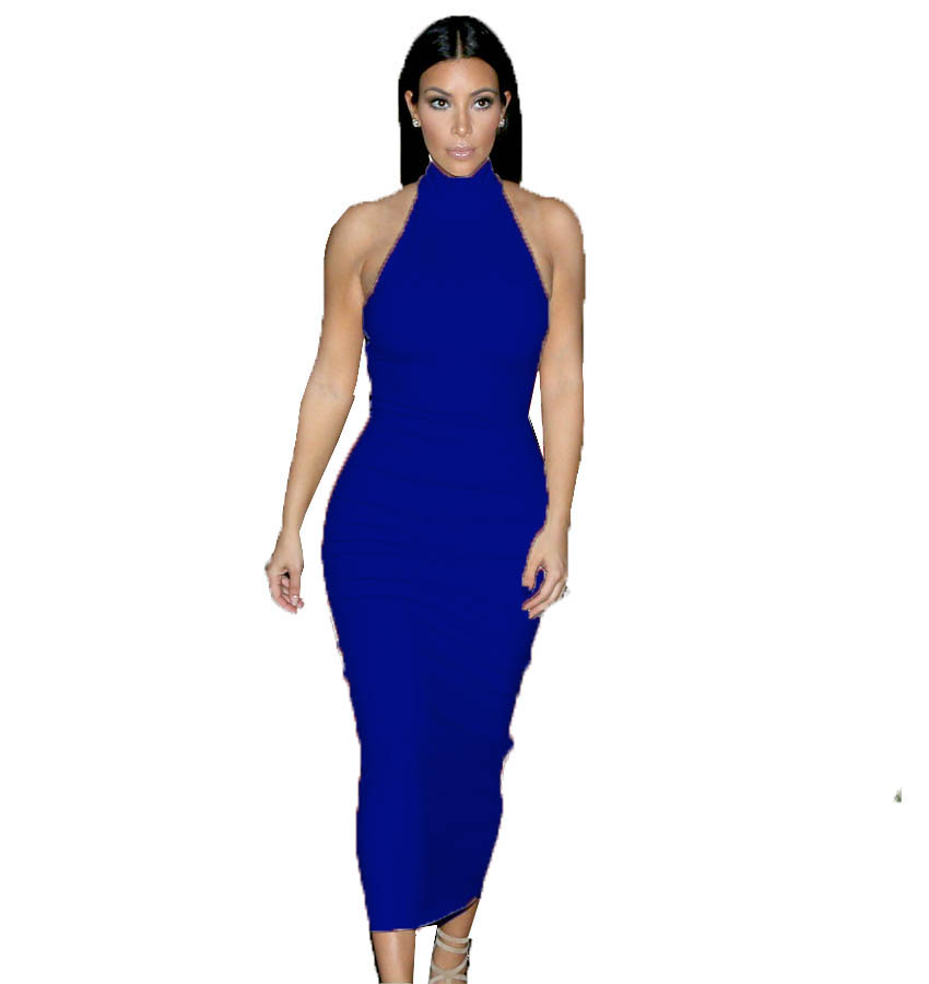 G066 mid-calf sexy halter whit and black color Kim kardashian bodycon ...