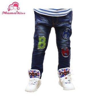 Free shipping 2014 New Autumn Children jeans embroidery all-match boy trousers B048