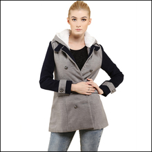 winter coat women 2015 long double breasted coats solid turn-down collar female overcoat grey cotton winter coat(China (Mainland))
