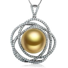 14-15mm Natural Southsea Golden Pearl 1CT Diamond Necklace Pendant For Women Luxury Fine Jewelry Wedding/Party/Engagement/Gift(China (Mainland))