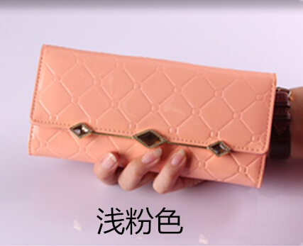 European and American fashion Lingge PU leather wallet women wallet chain diamond woman's purse(China (Mainland))