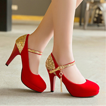 new small big size 33 42 black round toe thin sexy bridal Suede high heel  shoe women pumps lady red platform wedding heels shoe