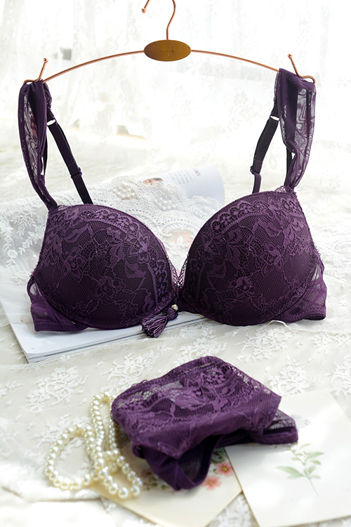 Free Shipping!2014 new Paragraph tassel purple underwear sexy temptation female bra briefs set 85b bra set(China (Mainland))
