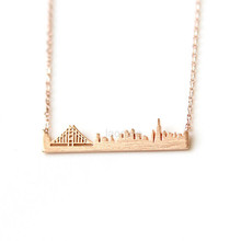 2015 Gold/Silver Stainless Steel Unique Jewelry San Francisco Golden Gate Skyline Necklace