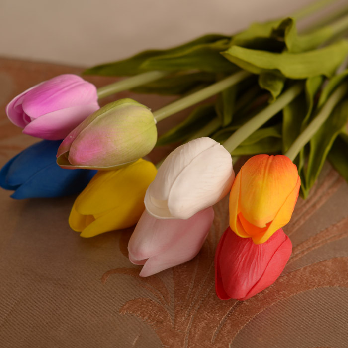 Free shipping 10 pcs High copy feel artificial PU mini tulip Artificial flowers home sitting room tea table decoration gifts(China (Mainland))